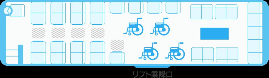ガーラリフト45車椅子4台の場合の座席表