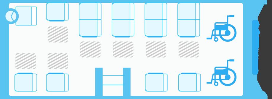 ガーラリフト45車椅子2台の場合の座席表